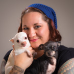 Woman with two chihuahuas